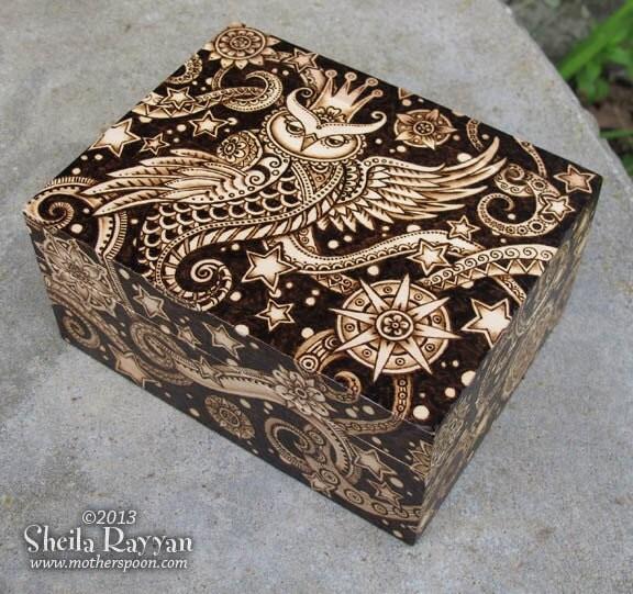 Celestial Owl Box decorative woodburning pyrography