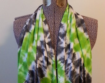 Tie Dye Infinity Scarf -- Charcoal Grey and Granny Apple Green