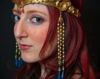 Winged Isis Moon Crown Circlet Tiara Egyptian Goddess Pharoah