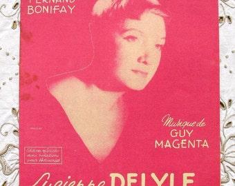 Vintage French 1950's Song / Sheet Music  - Pour Un Dollar (Lucienne Delyle)
