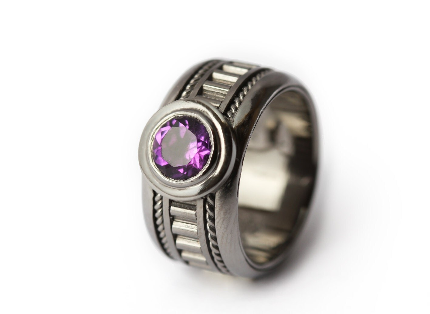 The Man Ring Amethyst personalized Men's Black Ring