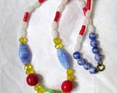 Primary and Pastel Vintage Mardi Gras Glass Czech Beads 1920s
