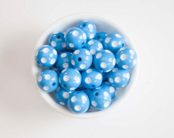 Light Blue Polka Dot 20mm Chunky Beads 10 ct for Bubblegum Necklace - 20mm Beads