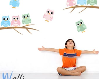 Owls wall art decal for kids and nursery room decor