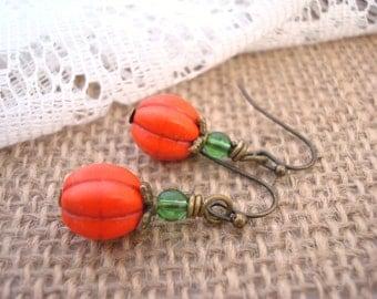Orange Pumpkin Earrings, Orange Earrings, Magnesite Earrings, Melon Howlite Earrings, Pumpkin Earrings, Orange Jewelry, Drop Earrings