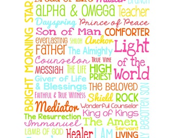 The Names of Jesus - Christian Wall Art - CUSTOM COLORS AVAILABLE - Pastor, Sunday School, Bible, Church, God, Gifts