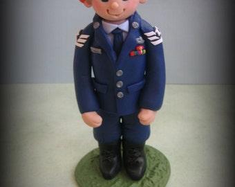Military Figurine, Ornament, Cake Topper, Polymer Clay Keepsake