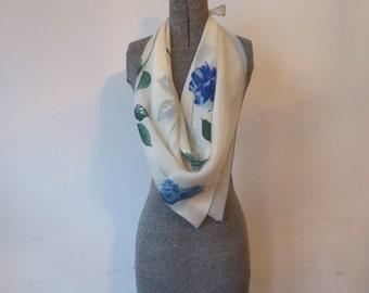 Gorgeous 60s Faux Silk Large Floral Scarf