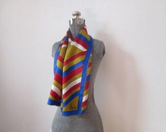Vintage '60s Vera Neumann Gold Blue & Red Chevron Striped Long, Skinny Scarf