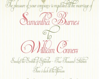 Garden Roses Wedding Invitation Print at Home Template