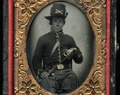 VV Rare Ambrotype Photo WOMAN Civil War Cavalry Soldier