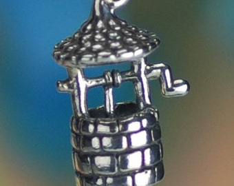 Wishing Well Charm Sterling Silver for Granting Wishes 3D Solid .925