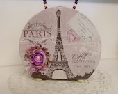 Footed Paris Purse with beaded handle and fabric flower with bead center