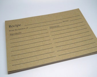 KRAFT Recipe Card - Blank Recipe Cards - Qty 25 - 4x6 - Brown Bag Kraft - Scrapbooking - Recipe Book