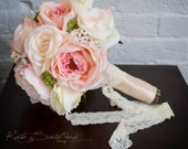 Blush Pink and Ivory Rose Wedding Bouquet - Silk Wedding Bouquet