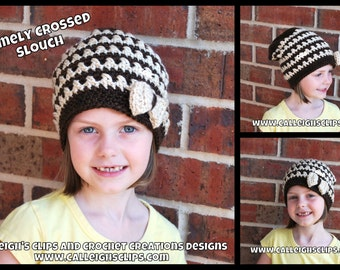 Instant Download Crochet Pattern No. 102 - Comely Crossed Slouch - All Sizes