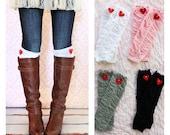 Valentine Gift Women's Girl's Ruffle Leg Warmers w Red Felt Heart.  Boot Socks Leggings Boot Cuffs Toppers.  Pink Red Gray Black.
