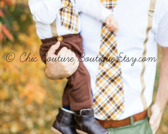 Tie and Suspenders Dad & Baby Boy Set Father Son Plaid Tan Mustard Yellow Chocolate Brown Baby's 1st Birthday, Easter Spring Valentine's Day