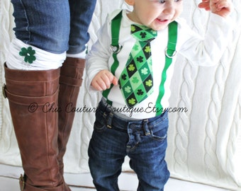 St Patrick's Baby Boy Tie and Suspenders Green Argyle Tie Bodysuit. Kelly Green Suspenders. Lucky Charm Tie, Kiss Me. Irish Proud Clover
