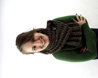 Button Cowl - Barley Brown with Black Button
