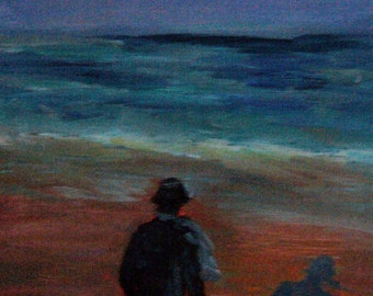 Goodbye to the sea, 35 x 28 cm. Original acrylic painting