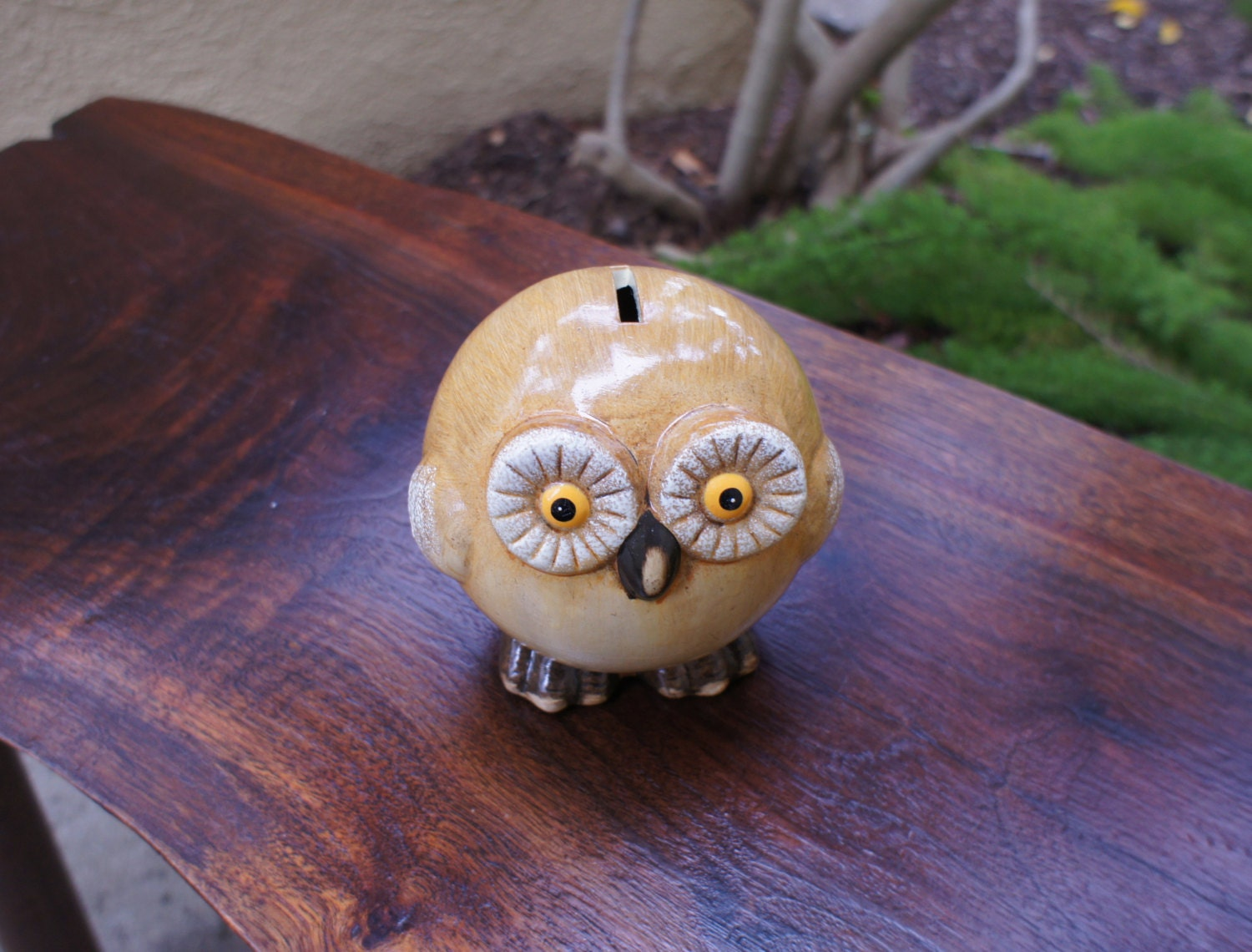 Vintage Owl Piggy Bank 1970s Pottery Kitsch By Thelionsdenstudio