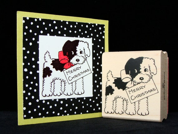 Christmas puppy rubber stamp