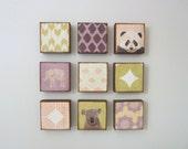 art for a nursery-nine set-5x5 customizable art blocks- kid room decor- art for babys room-nursery art block-redtilestudio