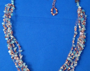 Necklace, Blue Crochet Wire Necklace