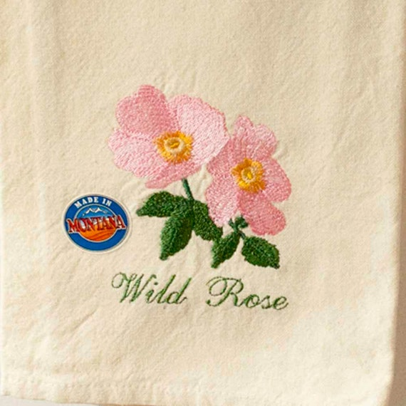 Rose Embroidered Towels: Tea Towel Pink Wild Roses Roses Embroidered By Charlenesbags
