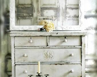 M O D E R N Farmhouse Glossy Chic White Mirror Vanity Nursery