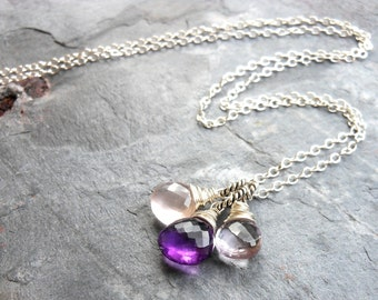 Amethyst Necklace Trio Briolettes Purple Pink Rose Quartz Sterling Silver Pendant Necklace, February Birthstone