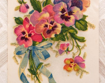 3 vintage used postcards : beautiful flowers for anniversaries - colourful pansies with glitter - 40s or 50s
