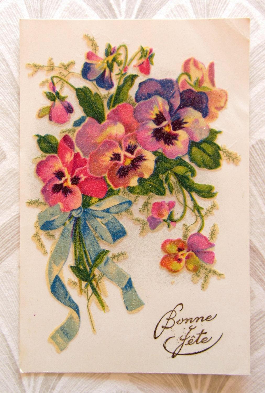 3 cartes postales vintage utilisées 'bonne fête ou