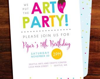 Art party Birthday invitations - set of 50