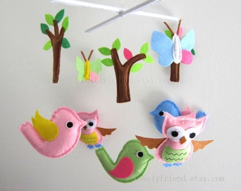 Pink birds Mobile - Baby Mobile - Butterfly Nursery Decorative Crib mobile - Pink and blue mobile  (Choose Your Felt Color)