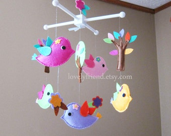 Summer Birds Party Mobile - Baby Mobile - Wood Hanger Decorative Nursery mobile - Colorful Birds love Trees (Choose Your Felt Color)