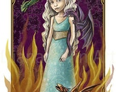"Mother of Dragons Art Print - Daenerys illustration- 8"" x 11""- Fantasy Artwork"