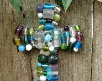 Decorative Wire-Wrapped Beaded Cross in the colors of Sea Glass
