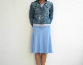 Knee Length Cotton Blend Skirt / Fold Over Waistband / Light Blue / Periwinkle / Yoga / Summer / Fall - Made to Order