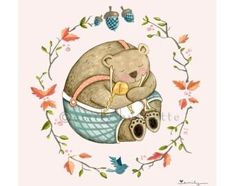 Bear Hugs Print - Watercolor - Childrens wall art print - Girls bedroom - Whimsical - Emily Burnette Recipe 4 Cute