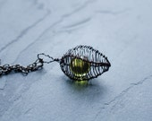 Cage Necklace Pendant in Mauve Grey and Golden Green