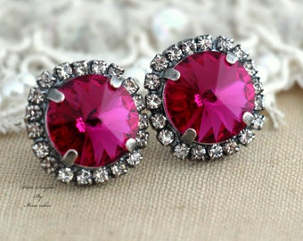 Pink Earrings, Fuchsia Swarovski Studs, Bridesmaid Earrings, Hot pink Crystal Earrings,Gift for her, Bridal Pink Crystal Earrings,pink Studs