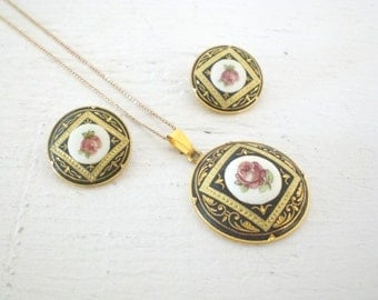 Vintage Damascene Necklace Earrings Jewelry Set 12K GF Pink Rose Clip On Gold Filled Mid Century Demi Parure GallivantsVintage