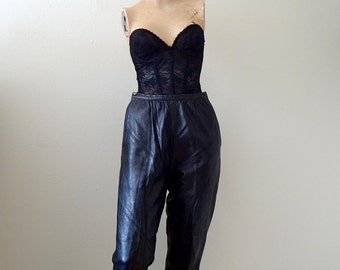 1960s Bonnie Cashin Black Leather Cigarette Pants / designer vintage size S
