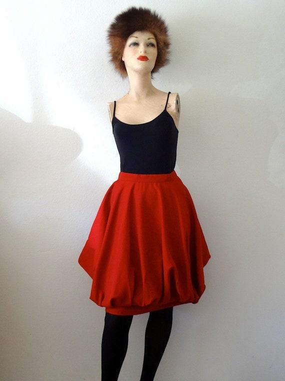 1980s Mini Skirt / red gabardine avant garde by ...