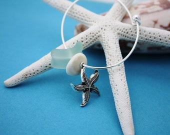 Shell Bangle Sea Glass Bangle Puka Shell Bangle Beach Bangle Starfish Jewelry Sea Glass Bracelet Hawaiian Bangle Hawaiian Jewelry Hawaii 026
