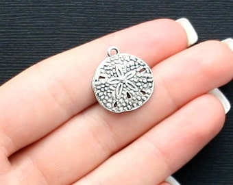 10 Sand Dollar Charms Antique  Silver Tone - SC2513