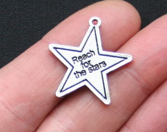 SALE 5 Reach for the Stars Charms Antique  Silver Tone - SC3005