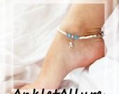 Chic Beach Feet Foot Charm Silver Anklet Ocean Blue Crystal Ankle Bracelet